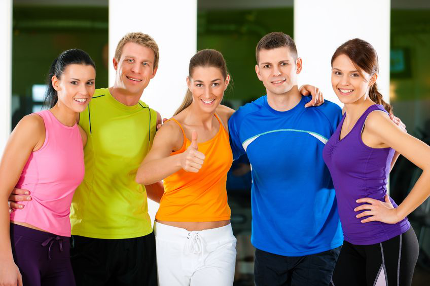Group of friends in fitness clothing